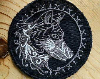Wolf patch, embroidered