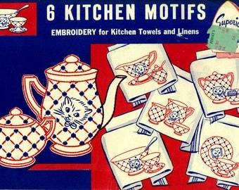 Kitties EMBROIDERY TRANSFERS Superior 127 Cat Faces on China Tableware Hot Iron Transfers for Kitchen Towels Linens