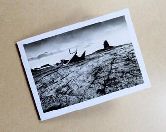 Saltwick Bay blank card, seascape card, shipwreck card, landscape card, seaside card, black and white card, art card, landscape print