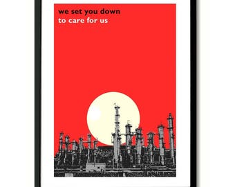 Stanlow Oil Refinery OMD Lyric Quote Art Print