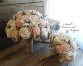 Ships in 4 weeks ~~~ Rustic Blush Pink Wedding Bouquet, Sola Flowers, Burlap, Lace. Available in small, medium or large.