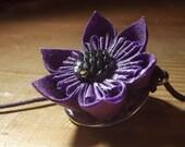 Purple Mermaid Fish Scale Handmade Fabric Origami Flower Necklace