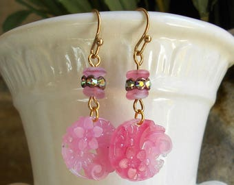 SALE Vintage assemblage earrings 1940s pierced glass pink flower drops Czech beads ab rhinestones unique upcycle by Triolette jewelry