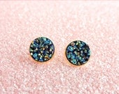 Metallic Blue and Gold Druzy Stud Earrings in Gold, Faux Druzy Studs,Faux Blue and Gold Druzy Studs, Druzy Studs, 12mm Faux Druzy Studs