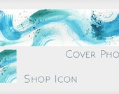 Abstract Watercolor Shop Banner Without Text - Turquoise Abstract Blank Etsy Cover Design with Icon -  Make Your Own Etsy Shop Design