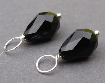 Swarovski Charms, Jet Black Teardrop Crystal Dangles, Wire Wrapped Bead Dangles, Add a Dangle,  Interchangeable Earring Components