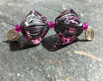 Fantasy - handmade lampwork bead pair