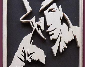 Humphrey Bogart Hand Cut Wood Picture