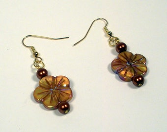 Rust-Gold Beaded Dangling Earrings, Rust and Gold Flowers, Glass Beaded Earrings, Dangling Beaded Earrings