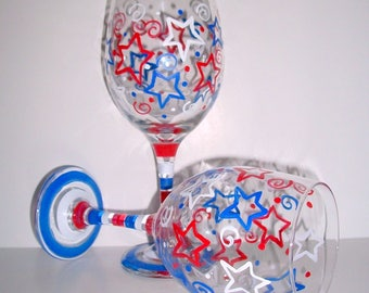 Patriotic Hand Painted Wine Glasses  Fourth Of July Red White and Blue Stars and Stripes Independence  Day Set of 2 - 20 oz. New Years