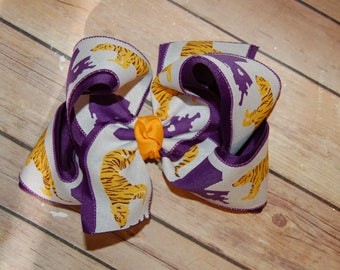 SSD LSU Tigers Purple Gold Canvas Hair Bow