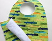 ON SALE Baby Bib Alligator Crocodile Cotton and Terrycloth Quilted with Washcloth