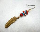 Men's Earring, Feather Earring, Stone Earring, Single Earring, Man's Earring, Men's Jewelry, Bronze Earring, Gifts for Men, Earring for Man
