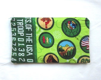 Be Prepared Lime Green Fabric Girl Scout Badge Zipper Pouch / Pencil Case / Make Up Bag / Gadget Sack