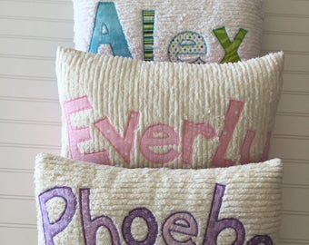 Personalized Pillows Name Pillows Custom Chenille Pillows
