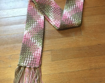 Pink Camo Crochet Scarf, Color Pooled Scarf