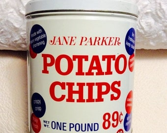 MOTHERS DAY SALE Vintage Jane Parker Potato Chips Tin Container Blue White Americana Advertising