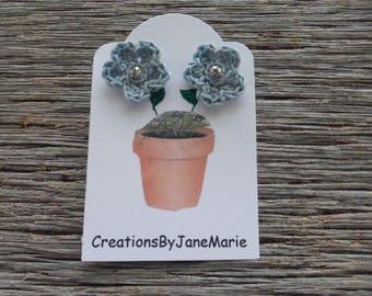 Crocheted Flower Earrings, Crocheted Flowers, Stud Earrings, Blue Crocheted Flowers