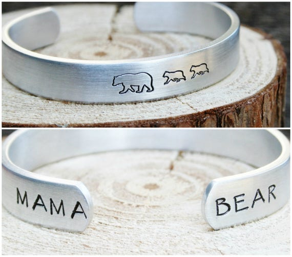 Bracelet Mama Bear Baby Bear Cub Hand Stamped Jewelry Cuff Aluminum Gift For Mom Grandma Grandmother New Mother Birthday New Mom Mothers Day