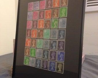 """England - Framed Postage Stamp Framed Art 8"""" x 10"""", London stamps"""