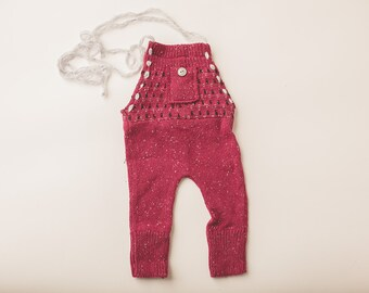 Newborn Photography Overall Set- Raspberry