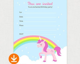 Pink Unicorn Birthday Party Invitations - Printable Birthday party invite - DIY Fill In Birthday Invitation - Instant Download