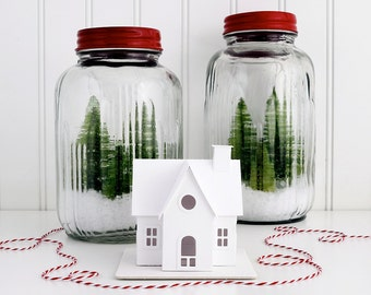 Putz House Ornament DIY Kit Nantucket Cottage Glitter House Christmas Decoration DIY Putz House Paper Craft Kit Winter Decor