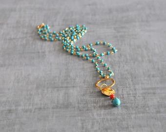 Boho Beaded Necklace,  Two Strand Necklace,  Turquoise Gemstone Necklace,  Geometric Necklace