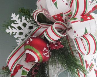 SALE- Christmas Lantern Swag, Red White Green Christmas Arrangement, Candleholder Swag, Snow White Hydrangeas, Ornaments, Snowflakes