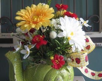 Spring  Summer Floral Arrangement, Kitchen Island Arrangement, Garden, Porch Decor,  Ceramic Snail Planter, Red Yellow White Flowers