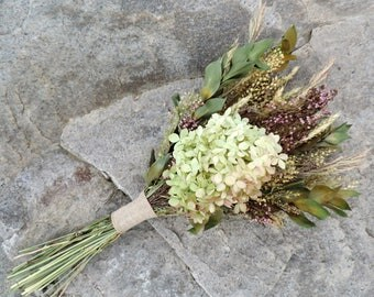Dried Flower Bouquet Floral Arrangement Hydrangea Heather Pepper Grass Wild Meadow Grass Wedding Bridal Home  Decor Flowers