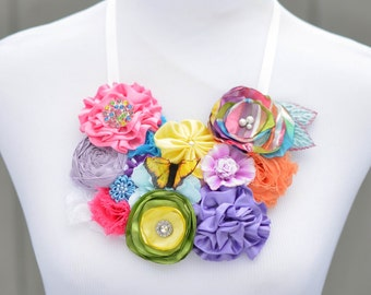 Spring Womens Statement Bib Necklace Fabric Flower Necklace Ribbon Tie Silk Rosette Photo Prop Prom Pink Purple Butterfly Ready to Ship