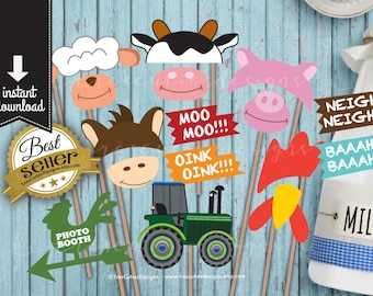 Photo Booth Props - Farm Animals Happy Birthday - Printable - Instant Download