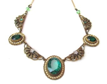 ART DECO Necklace ~ Vintage 1930s Faceted Green Glass, Enamel and Gilded brass ESTATE Jewelry