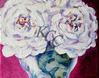 Roses in Fish Ginger Jar ~ Original Painting