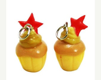 Miniature Star Cupcake Polymer Clay Foods Supplies for Beaded Jewelry Charm, 2 pcs