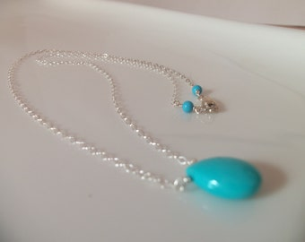 Sleeping Beauty Turquoise Pendant Wired Wrapped with Sterling Silver Handmade Necklace