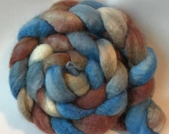 Blue faced leicester silk spinning top Floating, roving, BFL