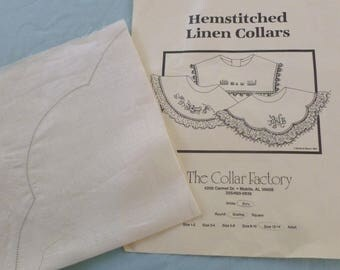 Hemstitched Linen Collar to Finish by The Collar Factory - Size 12 - 14 - 1984 - N