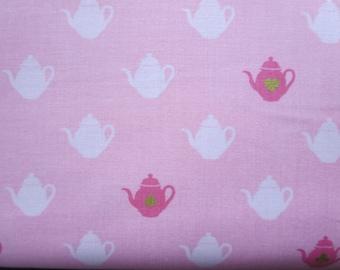 Wonderland  2 Tea Pot Pink Sparkle Fabric - SC5773  - Melissa Mortenson for Riley Blake