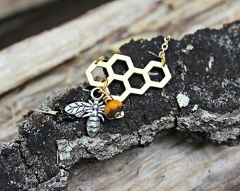 Honeycomb & Bee Necklace