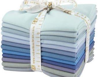 KONA Overcast palette - Cotton Solids in Misty Blues - 12-piece Fat Quarter Bundle - Robert Kaufman