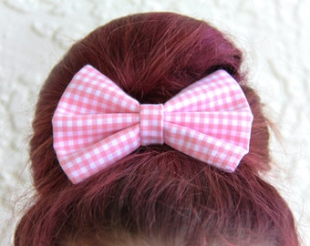 Pink Gingham Hair Bow Hair Clip Rockabilly Pin up Teen Woman Girl