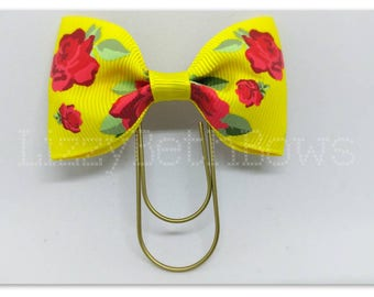 Planner clip, bookmark, planner bow clip, bow bookmark, beauty and the beast inspired, yellow bow with red roses