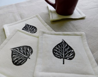 Leaf Coasters (Set of Four). Hand Printed. Botanical Home Decor. Warm and Cozy. Gift for Boss. Coffee Lover. Kitchen and Dining.