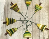 Shop Closing 50% OFF Yellow Green Button Christmas Tree Ornament - Proceeds Benefit Cancer Research