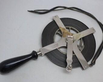 Vintage Lufkin 100 Foot Surveyors Tape - Lufkin Chrome Plated Tape Measure - Lufkin Engineers Tape - Lufkin Tape Measure - Vintage Tool