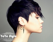 Gunmetal Ear Cuff, Ear Cuff Earrings, Spike Earrings,  Gunmetal Earrings