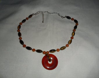 Vintage Carnelian Tiger Eye and Agate Necklace