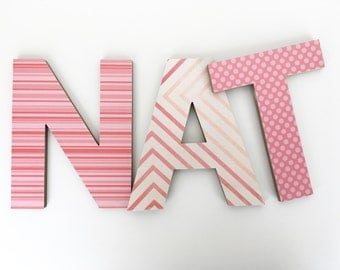 Coral Custom Wooden Letters, Personalized Nursery Name Décor, Girl Bedroom, Wood Wall Decorations, Baby Shower Gift